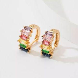 18k Crystal Rainbow Multicolor Huggie Earrings